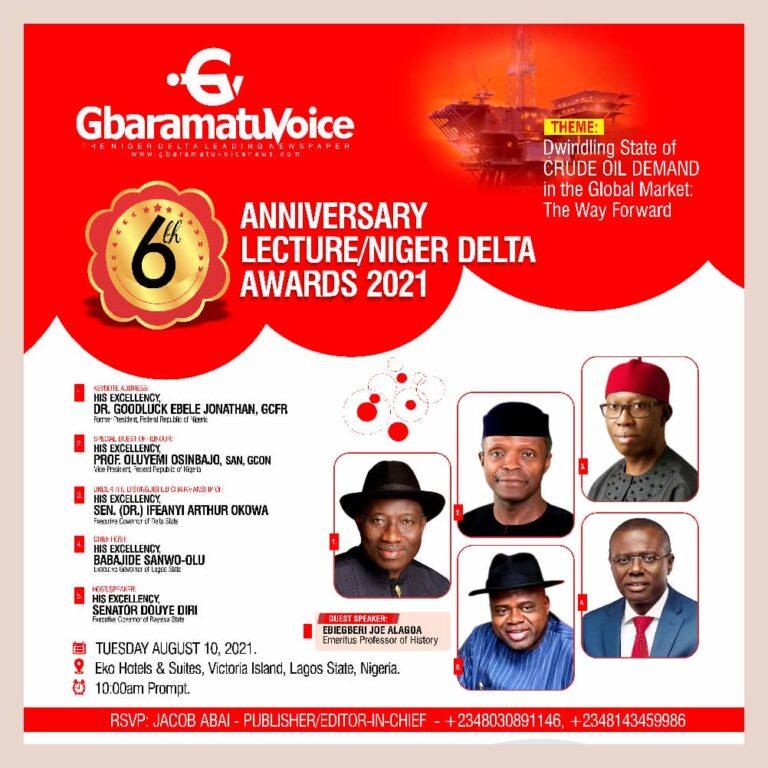 Osinbajo, Jonathan, Sanwo-Olu, Okowa among dignitaries to grace GbaramatuVoice 6th anniversary